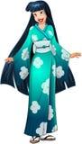 Aziatische Vrouw in Blauwe Kimono Royalty-vrije Stock Afbeelding
