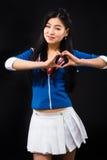 Aziatische vrouw die emoties in studio uitdrukken Royalty-vrije Stock Foto's