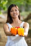 Aziatische vrouw die kleurrijke groene paprika's houden Stock Afbeelding
