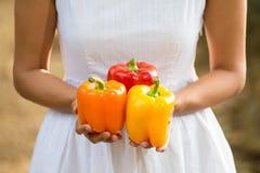 Aziatische vrouw die kleurrijke groene paprika's houden Royalty-vrije Stock Afbeelding