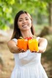 Aziatische vrouw die kleurrijke groene paprika's houden Stock Fotografie