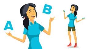 Aziatische Vrouw die A vergelijken met B-Vector Creatief idee Het in evenwicht brengen Klantenoverzicht Geïsoleerde vlakke beeldv Stock Foto