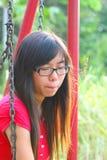 Aziatische vrouw in een droevige stemming Stock Foto's