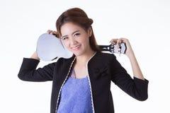 Aziatische vrouw het spelen ukelele Stock Afbeelding