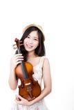 Aziatische vrouw met de viool Stock Foto