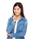 Aziatische vrouw met een idee Stock Afbeelding