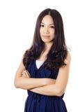 Aziatische vrouw met glimlach Stock Foto