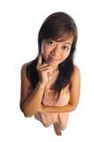 Aziatische Vrouw met het Grote Hoofd van Doll Royalty-vrije Stock Foto's