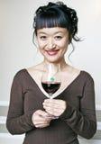 Aziatische Vrouw met Rode Wijn Stock Foto's
