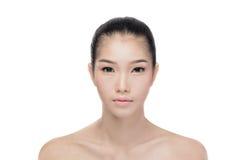 Aziatische vrouw met schoonheidsgezicht stock afbeeldingen