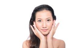 Aziatische vrouw op witte achtergrond Royalty-vrije Stock Fotografie