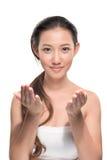 Aziatische vrouw op witte achtergrond Royalty-vrije Stock Afbeelding