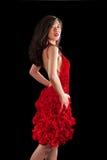 Aziatische vrouw in rode crochet kleding royalty-vrije stock afbeeldingen