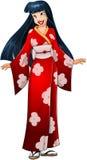 Aziatische Vrouw in Rode Kimono Royalty-vrije Stock Afbeeldingen