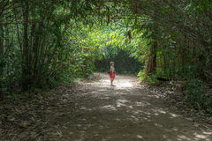 Aziatische vrouw in rode status in bomentunnel in bos Stock Fotografie