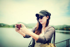 Aziatische vrouw selfie Royalty-vrije Stock Foto's