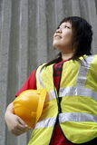 Aziatische vrouwelijke bouwvakker Stock Fotografie