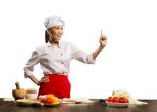Aziatische vrouwelijke chef-kok Stock Afbeelding