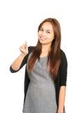 Aziatische Vrouwen Dringende Touchscreen Interface bij Stock Afbeeldingen