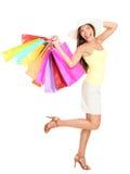 Aziatische Winkelende gelukkige vrouw Stock Fotografie