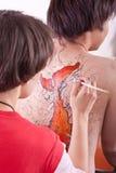 Aziatische wordt lichaam-geschilderd jongen Stock Foto's
