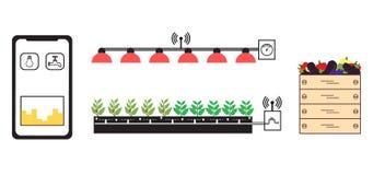Azienda agricola astuta ed agricoltura Nuove tecnologie illustrazione di stock