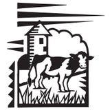 Azienda agricola con la mucca Immagini Stock
