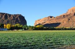 Azienda agricola del deserto del Moab ad alba Fotografie Stock Libere da Diritti