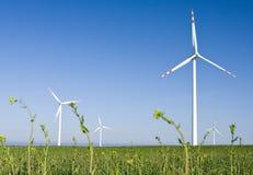 Azienda agricola del mulino a vento nel campo verde fotografia stock libera da diritti