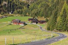 Azienda agricola dell'alpe al campo Immagini Stock Libere da Diritti