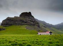 Azienda agricola dell'Islanda con i campi e le rocce di erba Fotografia Stock