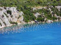 Azienda agricola dell'ostrica in Croazia Fotografia Stock