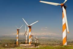 Azienda agricola della turbina di vento in Alture del Golan immagine stock libera da diritti