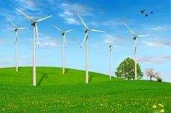 Azienda agricola delle turbine di vento Immagini Stock