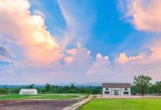 Azienda agricola di agricoltura del paese con il granaio in cielo di tramonto Fotografie Stock Libere da Diritti