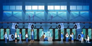 Azienda agricola di estrazione mineraria di Bitcoin nella stanza del centro dati che ospita l'illustrazione moderna di vettore de Immagini Stock