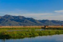 Azienda agricola di galleggiamento, lago del inle nel Myanmar (Burmar) Fotografie Stock