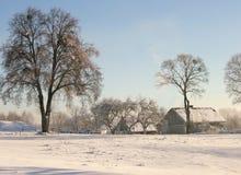 Azienda agricola di inverno Fotografia Stock Libera da Diritti