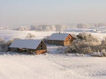 Azienda agricola di inverno Fotografia Stock