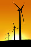 Azienda agricola di vento di tramonto Fotografie Stock