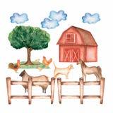 Azienda agricola disegnata a mano dell'acquerello Animali ed oggetti disegnati a mano: granaio albero, nuvole, erba, recinto, gal illustrazione vettoriale