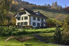 Azienda agricola e casa svizzere in mezzo alla natura vicino alla collina di Gurten da Wabern Fotografia Stock Libera da Diritti