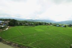 Azienda agricola e montagna verdi fotografia stock libera da diritti