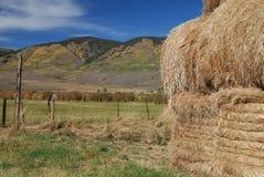 Azienda agricola e mucchio di fieno della montagna del Colorado Fotografie Stock