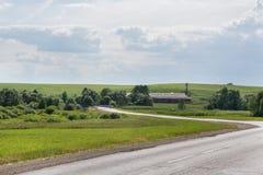 Azienda agricola e paesaggio di estate Fotografia Stock