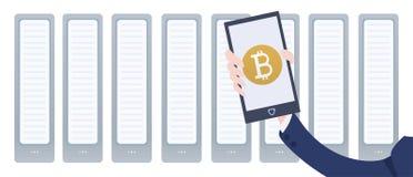 Azienda agricola e smartphone di estrazione mineraria di Cryptocurrency a disposizione Portafoglio mobile app del bitcoin Illustr Fotografia Stock Libera da Diritti