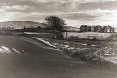Azienda agricola innevata fotografia stock libera da diritti