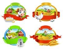 Azienda agricola Insieme di etichetta Mucca e latte, burro, pollo ed uova, pane e pasta vettore 3d illustrazione di stock