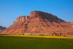 Azienda agricola rossa della roccia Fotografie Stock