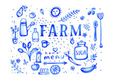 Azienda agricola - simboli del menu dell'acquerello del blu oltremare Immagine Stock